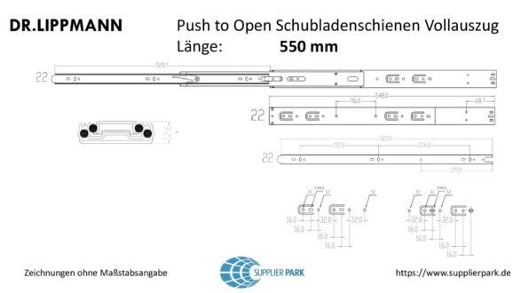 Schubladenschienen mit Push To Open - Zeichnungssatz 550 mm